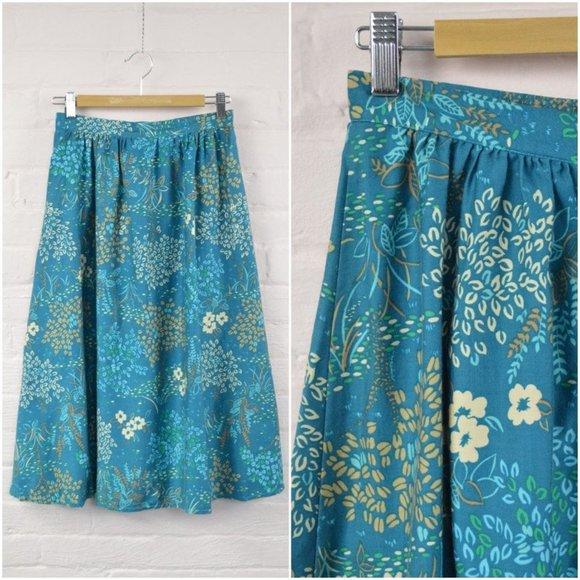 preppy blue floral print long skirt
